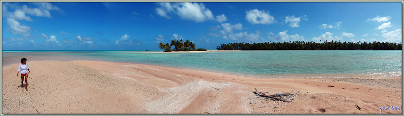 Du lagon au hoa : panorama sur les motu au sable rose - Sud de Fakarava (Tetamanu) - Tuamotu - Polynésie française