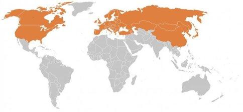 Carte : zones actuelles d'endémie de la borréliose de Lyme