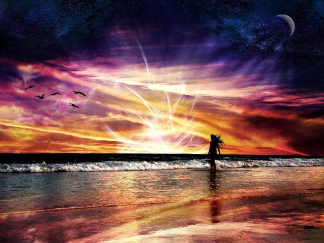 Mer et coucher du Soleil