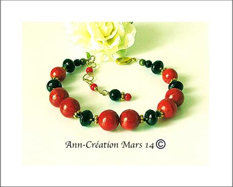 Bracelet Corail éponge rouge & Onyx Noire / Métal doré