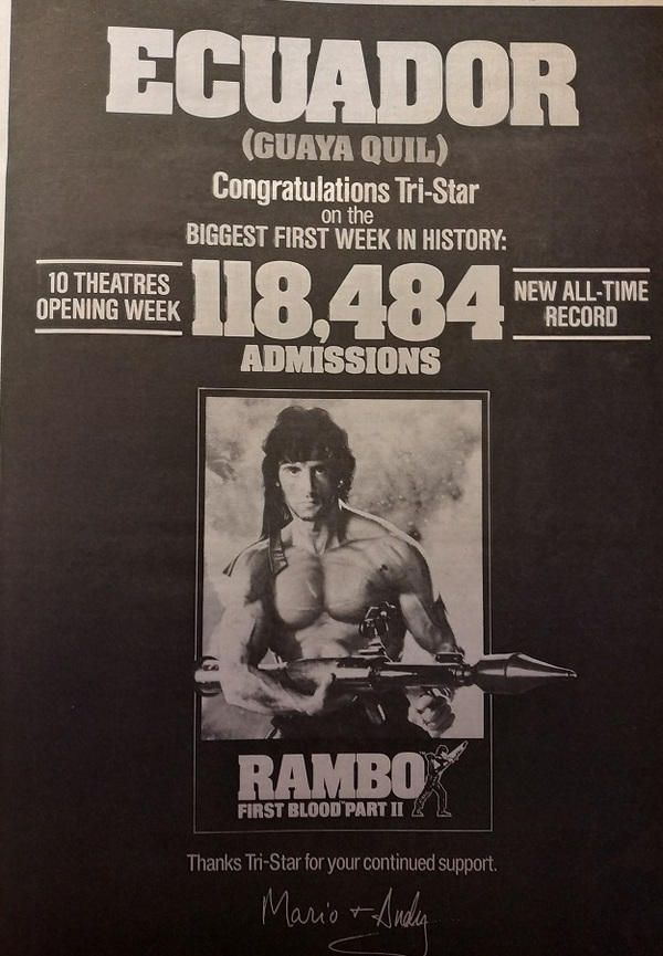 RAMBO 2 LA MISSION PARTIE 2 (RAMBO : FIRST BLOOD 2) SYLVESTER STALLONE BOX OFFICE 1985