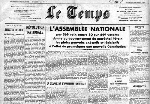 Le Temps 12 juillet 1940 - au lendemain du vote des pleins pouvoirs à Pétain