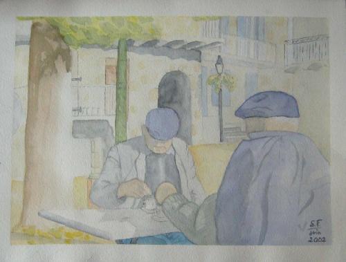 Deux monsieurs dans un village, aquarelle