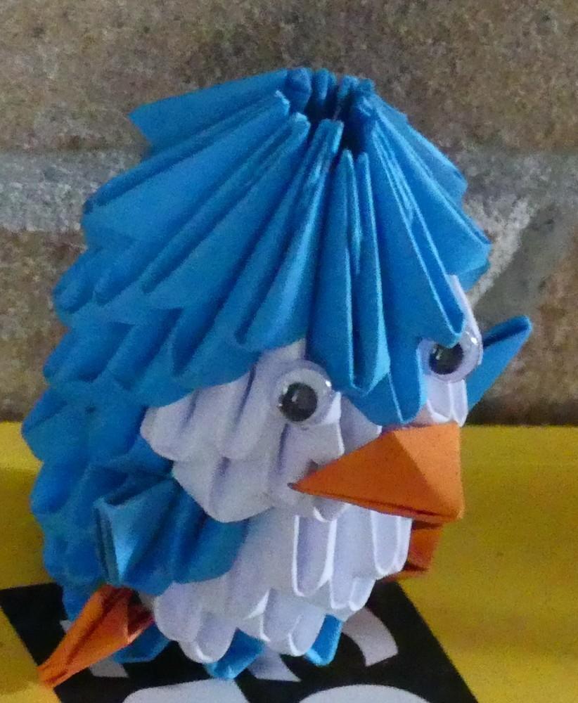 Ma première réalisation en origami modulaire : le pingouin...