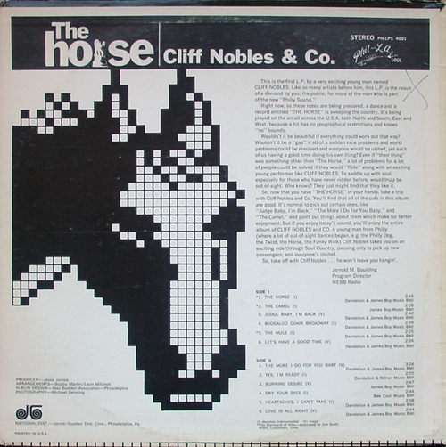 "Cliff Nobles & Co. : Album "" The Horse "" Phil-L.A. Of Soul Records LPS 4001 [ US ]"