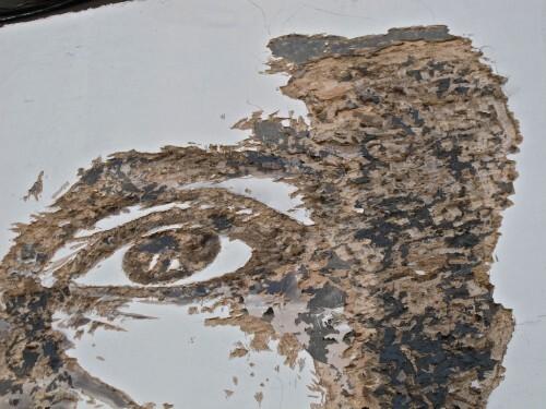 Londres street-art Brewery Vhils visage creusé 4