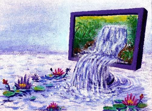 Ecran fontaine et fleure de lotus