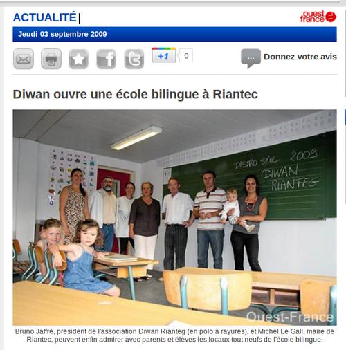 Diwan ouvre une école bilingue à Riantec