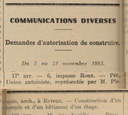 Construction Impasse Roux  (Bulletin municipal officiel de la Ville de Paris 1 juil 1953)