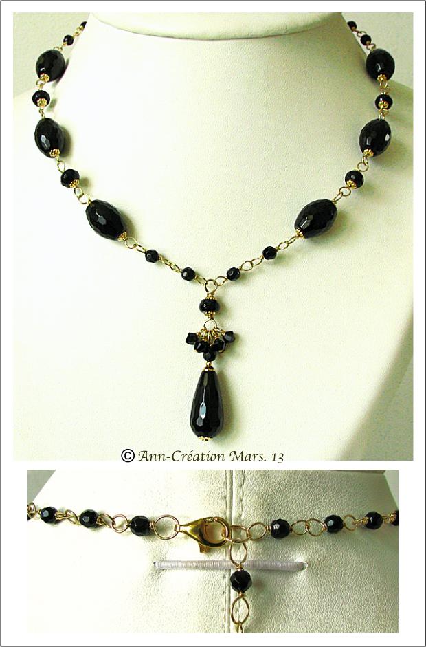 Collier Pendentif Onyx Noire, Cristal de Swarovski, Plaqué Or Gold Filled & Vermeil