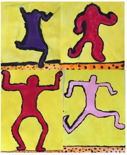 Keith Haring, lignes noires et aplats de couleurs pures.