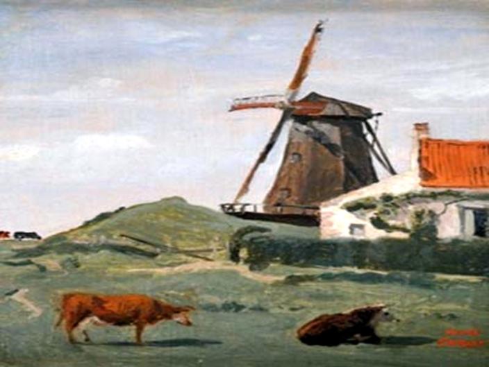 Moulin à vent aux environs de St Omer - 1852