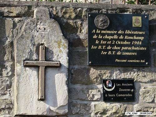 """* Cérémonie du souvenir sur la colline de Bourlémont   """"la Chapelle N-D du Haut""""  le samedi 29 septembre 2018"""