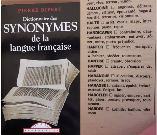 Harceler à travers les dictionnaires