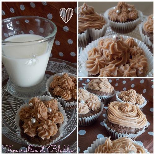 Cupcake chocolat et topping ou glaçage noisette