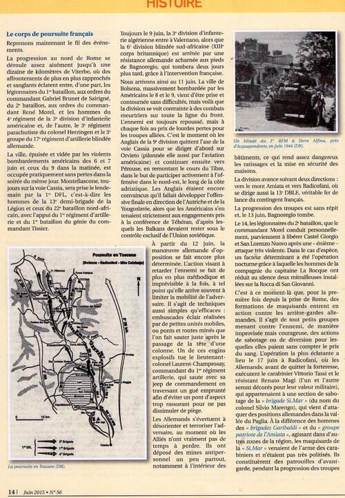 * RADICOFANI 1944, le courage d'oser... vient de paraître dans la Revue de la France Libre