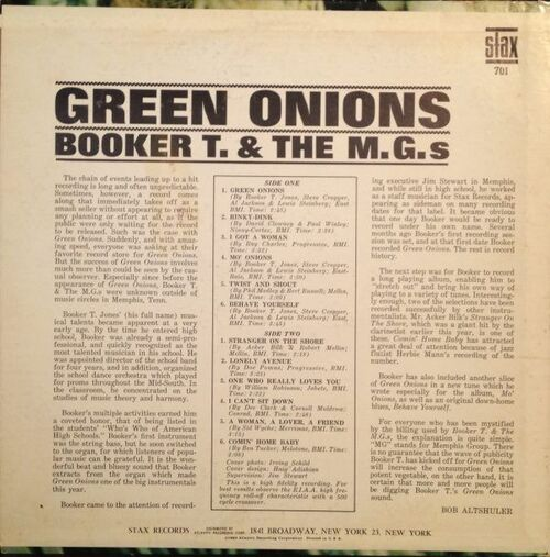 "1962 : Album "" Green Onions "" Stax Records LP 701 [ US ]"