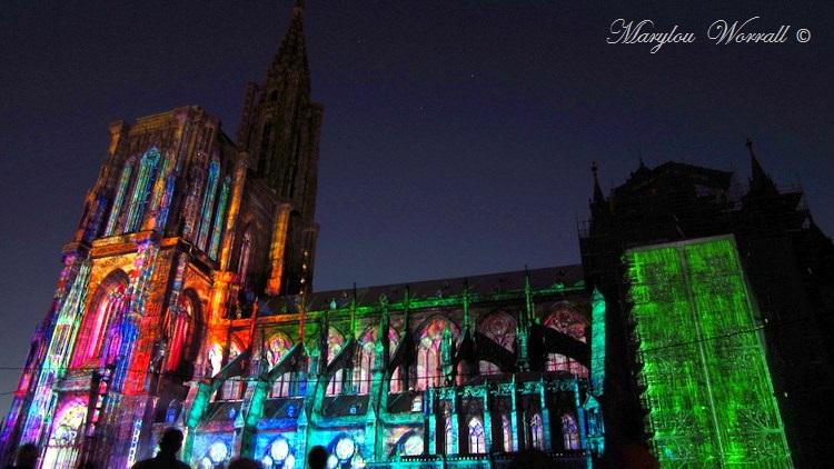 Strasbourg (67) : La cathédrale illuminée