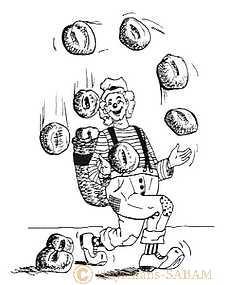 Dessin au trait, clown jonglant avec plusieurs pains - Arts et sculpture: dessinateur, peintre, sculpteur