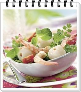 salade crevettes et litchis