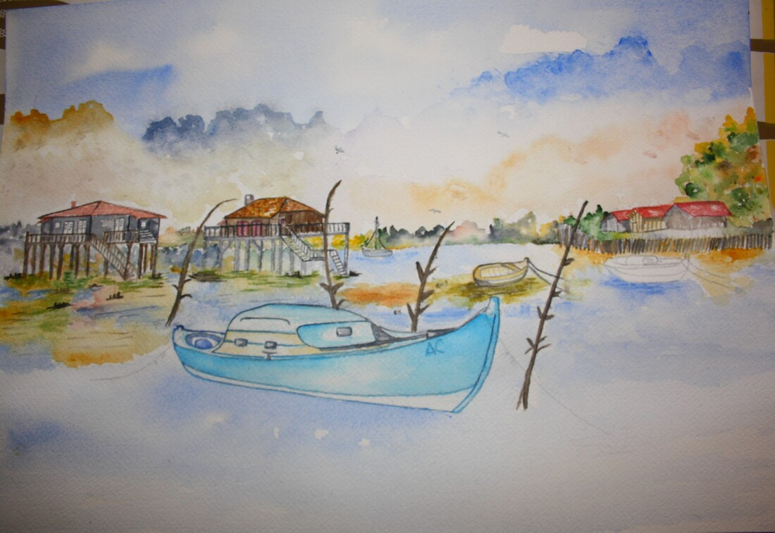 Aquarelle en pas à pas : Le bassin d'Arcachon