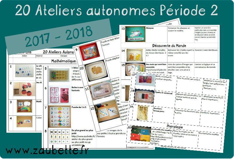 20 ateliers autonomes individuels GS période 2