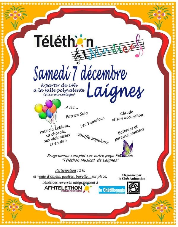 Le Téléthon de Laignes aura lieu samedi 7 décembre 2019 venez nombreux !