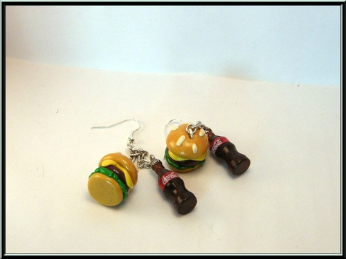 Boucles d'oreille Mac Do, hamburger en fimo et bouteille de coca
