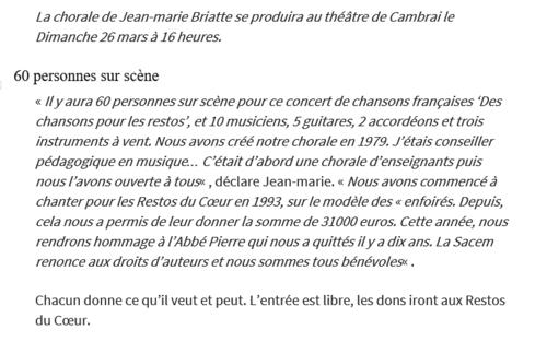 La chorale pour Les Restos au Théâtre de Cambrai