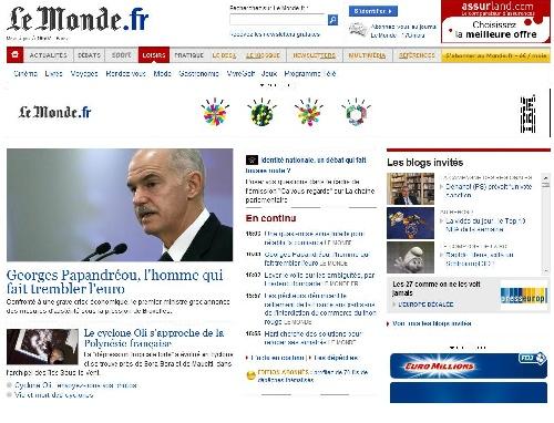 Page d'accueil site Lemonde.fr