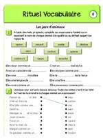 Rituel de vocabulaire 4ème primaire (CM)