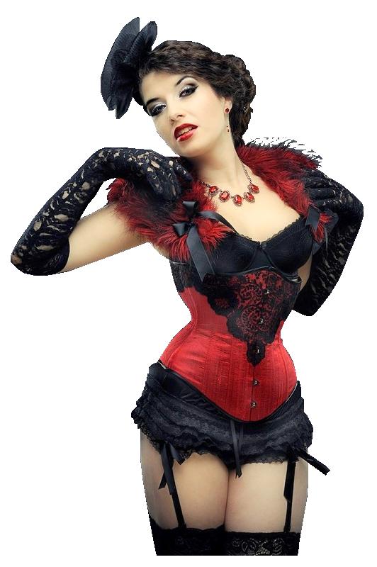 femme corset rouge