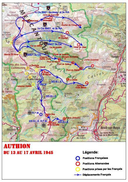 * Etape n° 48 - Alpes Maritimes - 13-18 Avril 1945 - La Secca (B.M. XI) -  La Dea et la Beole (Légionnaires et Fusiliers Marins) - Maurion (B.M. 21)