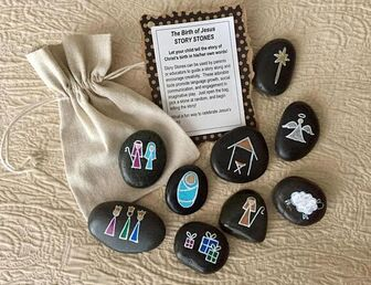 DETAILS: Let your child tell the story of Christs birth in his/her own words! Story Stones can be used by parents or educators to guide a story along and encourage creativity. These adorable tools promote language growth, social communication, and engagement in imaginative play. Just