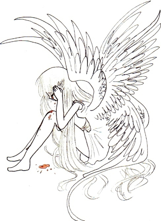 Dessin Ange Triste ange blessé - just the air