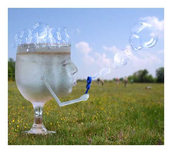 verre, enfant, bulles de savon