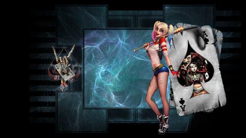 Harley Quinn - fond bleu