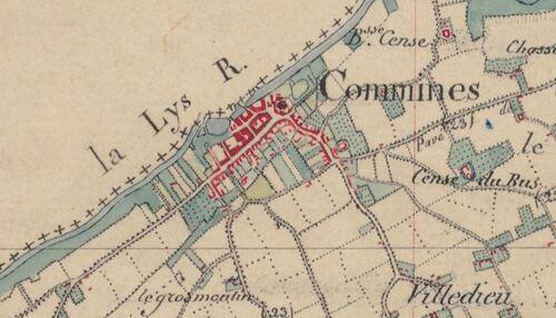 Comines - Carte de l'état-major 1820-1866 (geoportail.gouv.fr)