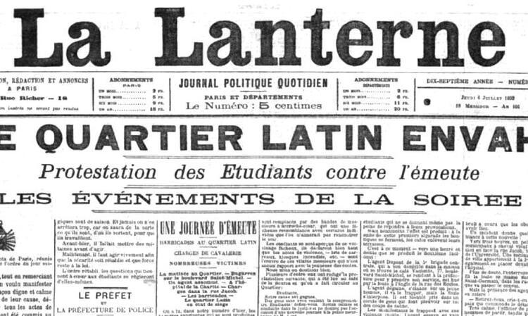Émeutes étudiantes et barricades au Quartier Latin en juillet 1893 (La Lanterne. 6 juillet 1893).