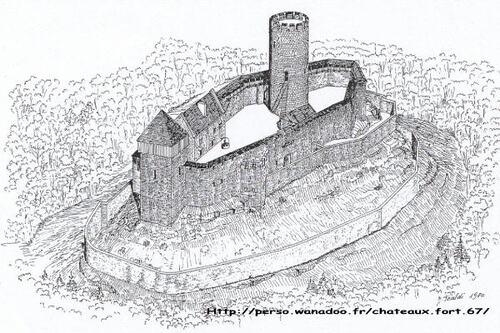 Dessin représentant le château du Frankenbourg.