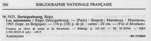 Régis Dericquebourg (Bibliographie nationale française, 28 février 1996)