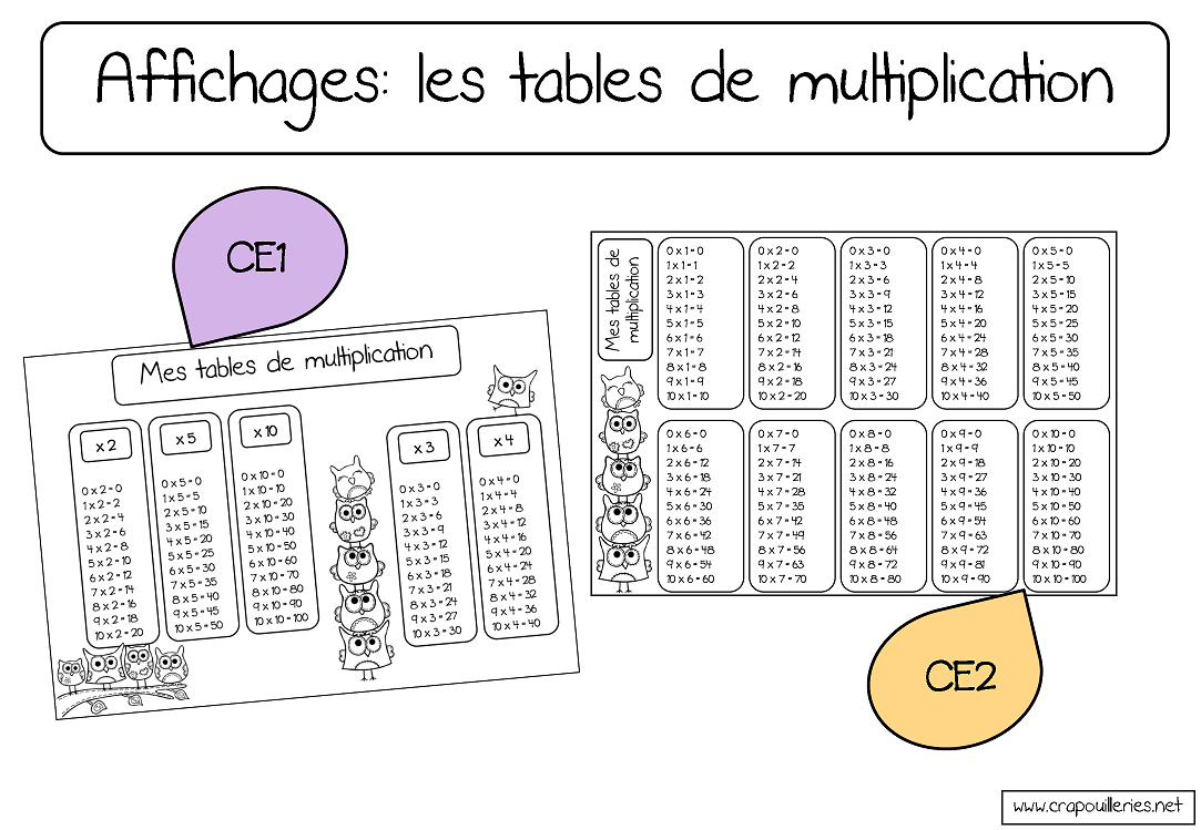 J 39 aime les tables de multiplications de chez crapuilleries - Tables de multiplication a imprimer ce2 ...