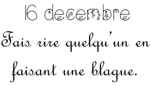 Lundi 16 décembre: Calendrier de l'Avent