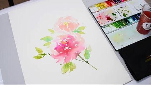 Dessin et peinture - vidéo 1922 : Réalisation d'une aquarelle de fleurs - méthode chinoise étape par étape.