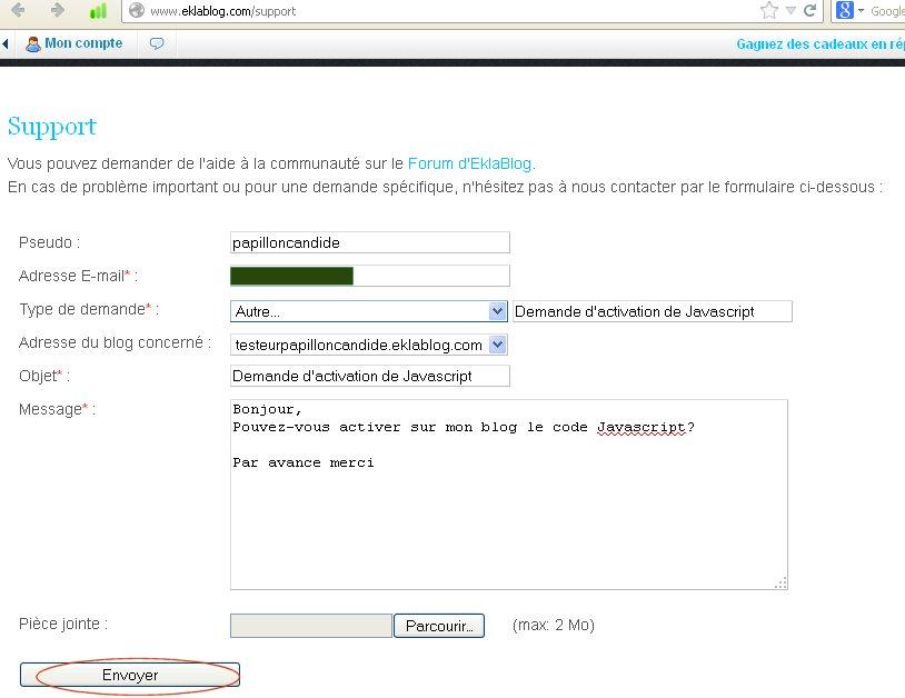 activation du javascript sur Eklablog