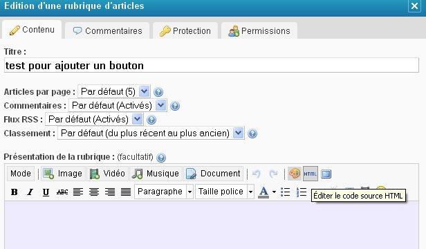 L'adjonction de boutons sur Eklablog