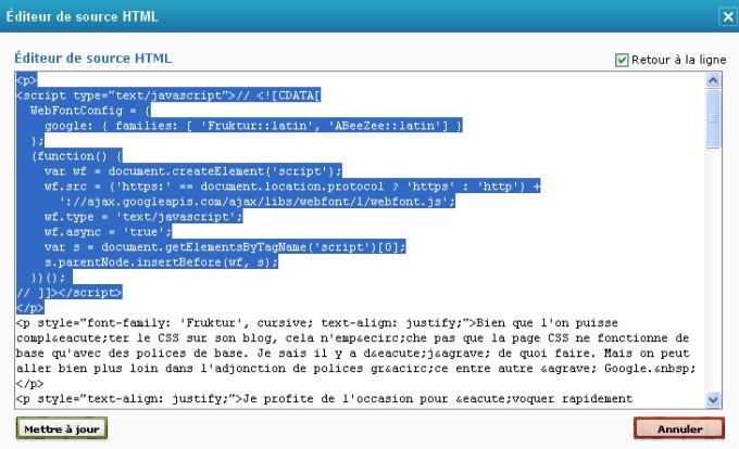 Javascript et l'usage des polices de caractères de Google