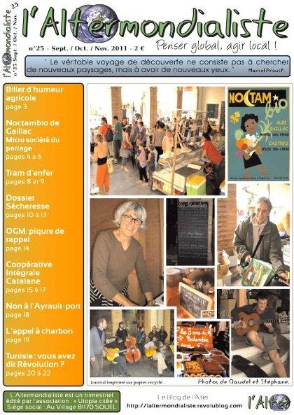 L'Alter : Edito du N°25 - Septembre / Octobre / Novembre 2011