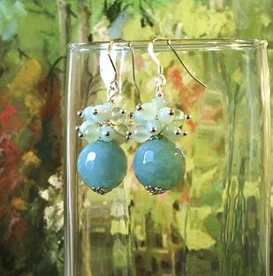 Boucles Grappe Pierre de Quartz bleu, Prehnite et Amazonite / Argent 925