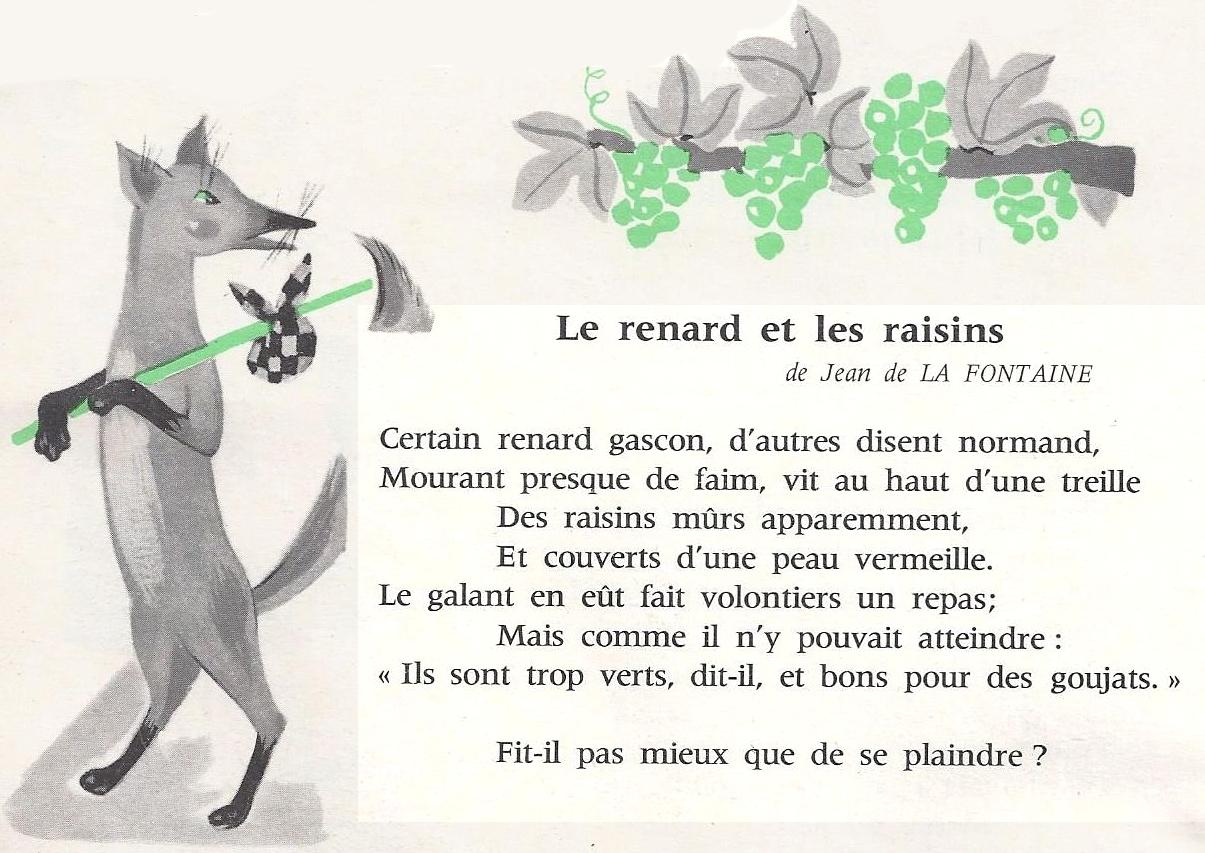 La Fontaine Le Renard Et Les Raisins Littérature Au Primaire